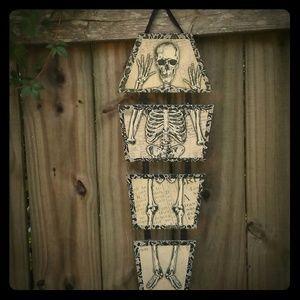 Halloween Skeleton Coffin Goth Hanging Decor Sign